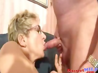 nerdy granny with eyeglasses takes banged uneasy
