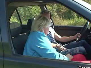 granny gets screwed inside the car