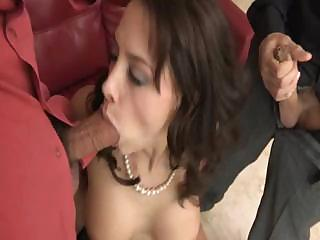 sexy cougar chanel preston gets two cocks, single