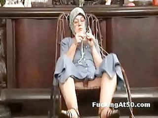 naughty elderly finger herself and gives soaking