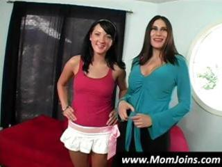 wonderful brunette mature babe and daughter team
