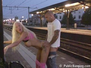 mature babe pierced at a train station