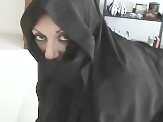 iranian muslim burqa angel gives footjob on