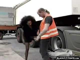 brown hooker riding on elderly truck driver