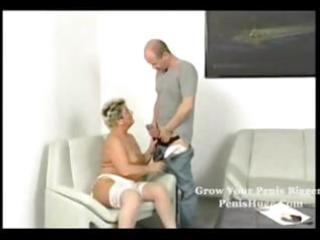 plump blond granny taking it on with her granny