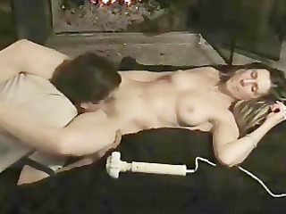 pair cums by fireplace!