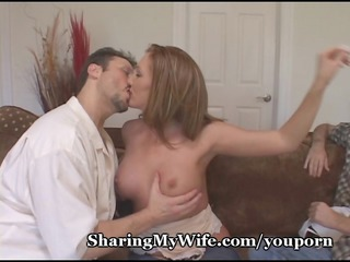 red-haired wife watched by nerd hubby