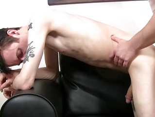 blond skinny and tattooed twink obtains slammed