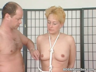 babe blond obtains tits tied inside this