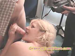 two grannies at a cum swallowing celebration