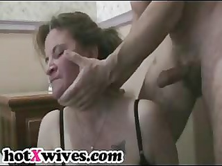 busty ex lady obtains stiff throat gang drill