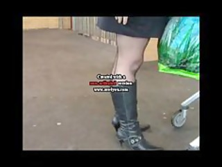 dark seamed nylons boots and a mini skirt