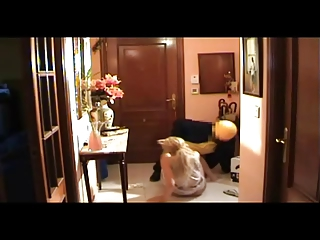 spanish cougar receives the mailman
