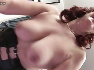 slutty yellow older mother pushing dildo with