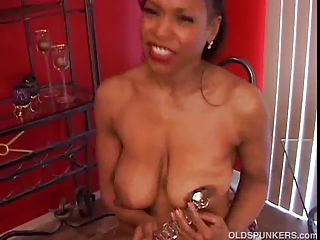 grown-up dark amateur has lovely giant tits a