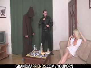 grownup widow enjoys two dicks