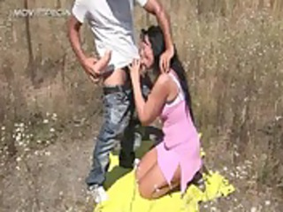 busty woman gets drilled uneasy outdoor