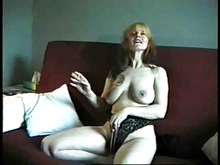 cougar demonstrates us her tits and cave