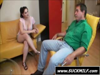 slutty brunette mom licks on his libido and next