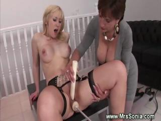 slutty milf helps lady reach an orgasm