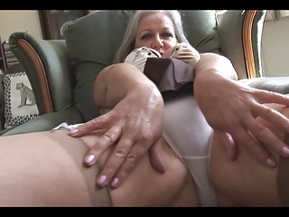 attractive busty elderly striptease