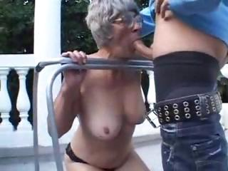 granny is open-air licking on a fresher libido