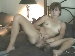 my fresh lady pushing plastic cock for me on bunk