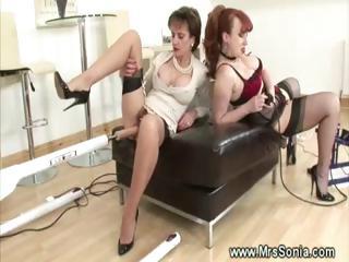 two older sluts obtain boned by plastic cock