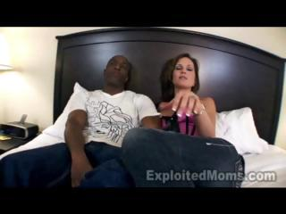 lady brunette with large bossom is licking and