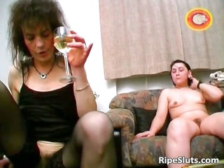 busty elderly brunette gets shaggy cave