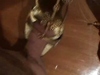 fucking wifes highheels - golden sandals