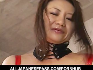desperate japanese woman inside ebony latex with