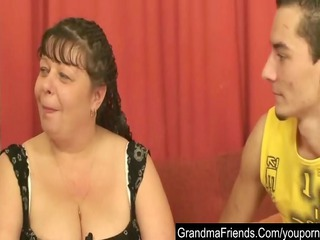 chubby older is twofold gangbanged and cumfaced