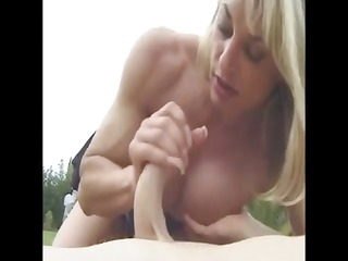 grownup muscled with big clit outdoor