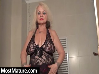 filthy granny uncovering chubby breast
