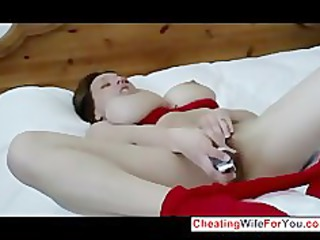 slut with large boobs pleases with a large device