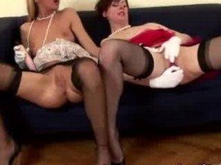 mature italian lesbo into pantyhose puts vibrator