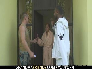 single grandma takes pierced by two friends