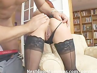 rufous slut swallows sperm from a big cock