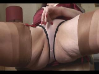 giant bossom mature lady shows off sheer brief