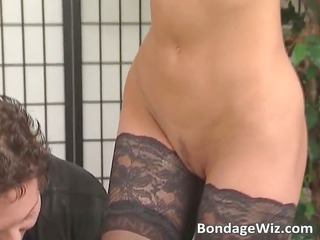 adorable lady inside nylons obtains her boobs