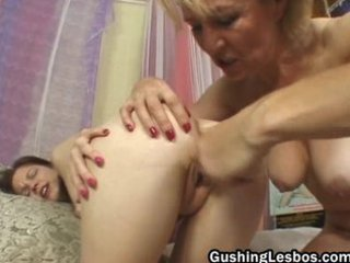 cougar on man lesbo couple plastic cock drilling