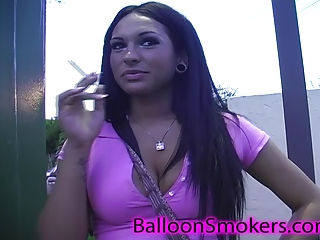 large breast teenage smoking and flashing in