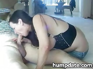 mature lady with giant chest gives dick licking