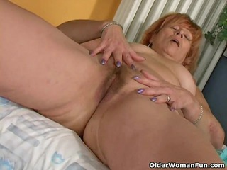 redheaded elderly susan bonks her hairy gap with