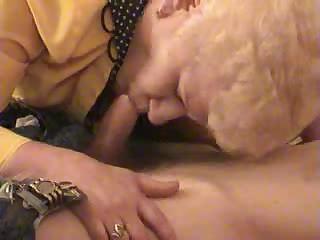 elderly blonde old satisfies a guy