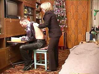 russian grown-up feminine fucks her son`s perfect