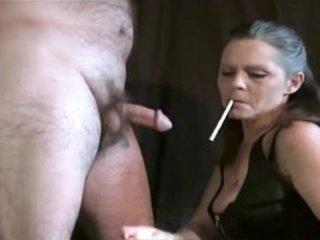 beautiful older female always smokes her