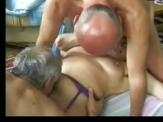 elderly entertains two elderly guys