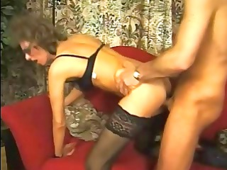 grownup inside stockings and glasses gang-banged